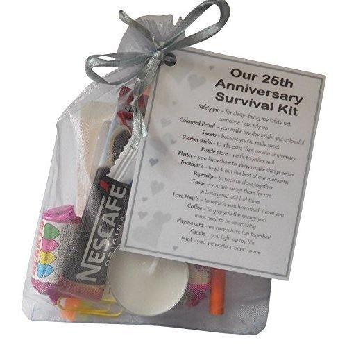 Silver 25th Anniversary Survival Kit Gift - Great novelty present ...