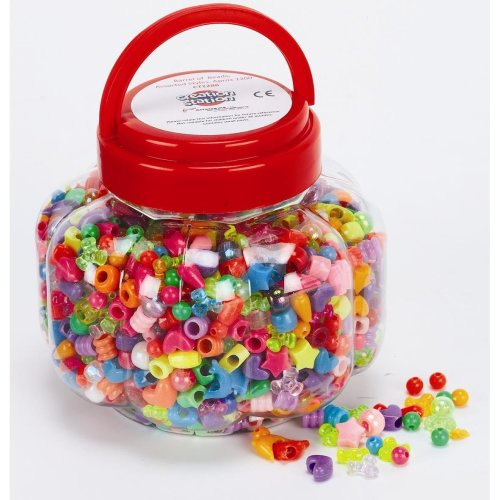 Creation Station 215 g Barrel of Beads in Assorted Styles, Pack of 1200