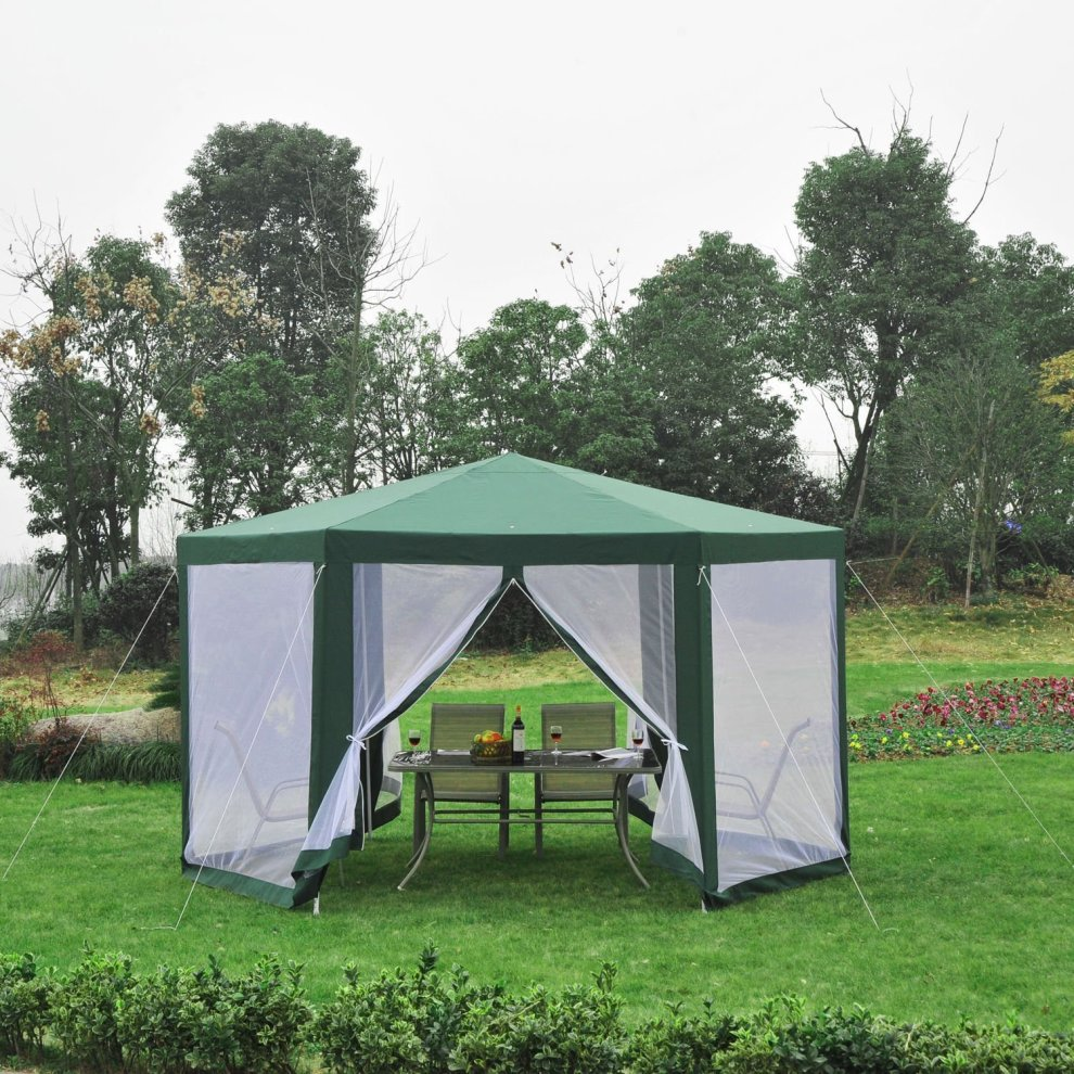Outsunny Netting Gazebo Hexagon Tent Canopy Outdoor Shade Water Resistant Green