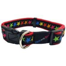 "3/4"" x 14-18"" Black Star Print Adjustable Dog Collar -  collar stars black hem boo nylon hemmo"