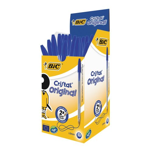 Bic Cristal Medium Blue Pens (pack of 50)