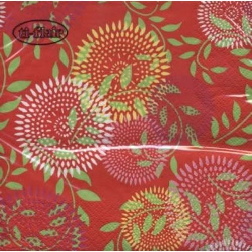Ti-Flair Pack of 20 Napkins / Serviettes - Red Retro Circle - 33cm x 33cm - 3ply