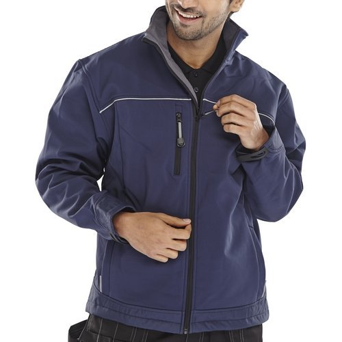 Click SSJN4XL Soft Shell Jacket Water Resistant Breathable Fabric Navy Blue 4XL