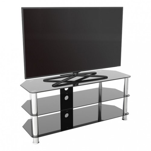King Glass TV Stand 114cm, Chrome Legs, Black Glass, Cable Management, for TVs up to 55""