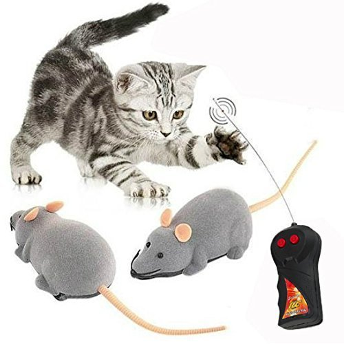Cisixin Remote Control Electronic RC Wireless Rat Mouse Toy for Cat Dog Pet Novelty Gift (Gray)