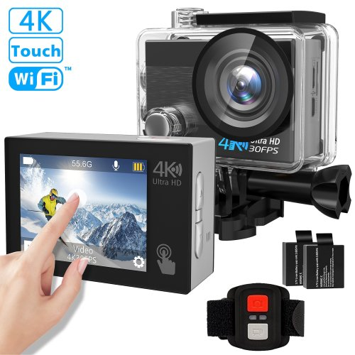 "Action Camera, Tintec 4K 16MP Waterproof Action Camera Sports DV Touch Screen WIFI 2"" LCD, 170 Ultra Wide-Angle Lens,2pcs Rechargeable..."
