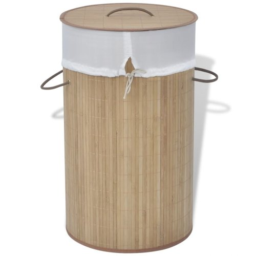 vidaXL Bamboo Laundry Bin Round Natural Washing Clothes Storage Hamper Basket