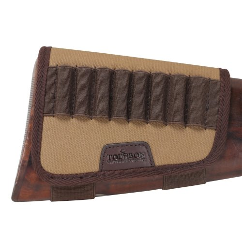 TOURBON Rifle Buttstock Shell Holder Cartridge Ammo Pouch- Canvas And Leather