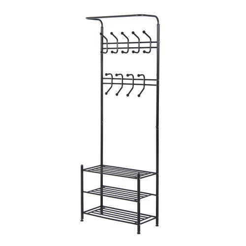 Homcom Multi-purpose Metal 18 Coat Hooks Shoes Rack Clothes Organiser Umbrella Stands - Black