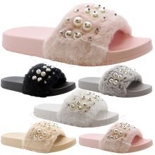 Womens Pearl Rubber Slip On Sliders Mules Sandals