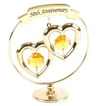50th Anniversary Gifts; Two Hearts Ring Ornament made with Swarovski Elements