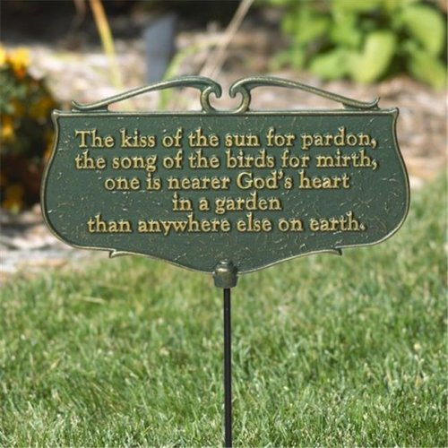 Whitehall Products 10046 The Kiss of the Sun Garden Poem Sign - Gold & Green