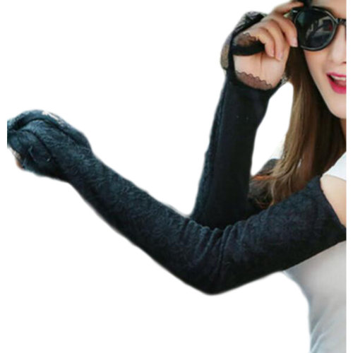 Lace Cotton Outdoor Sunscreen Clothing Women Gloves Breathable Sun Protective Sleeves-Black