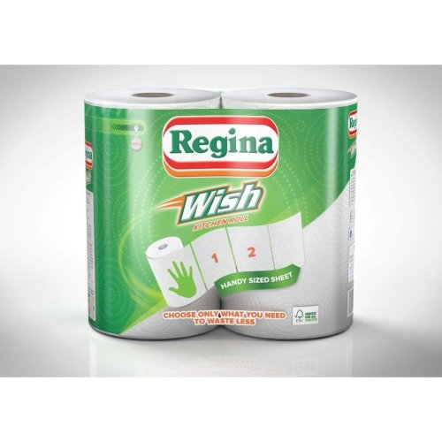 Regina Wish Kitchen Roll Towels, 12 rolls in total (2 x 6 packs)