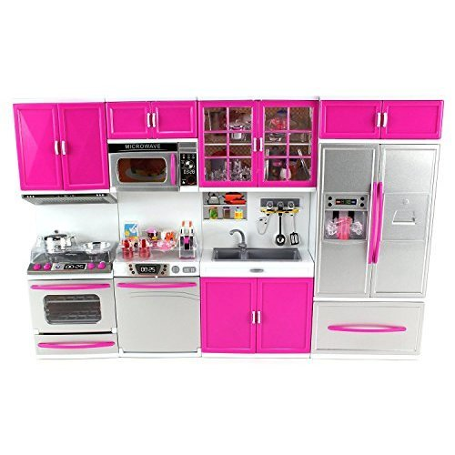 Doll Playsets My Modern Kitchen 32 Full Deluxe Kit with Lights and Sounds 21 x 13 8 x 4 Inches