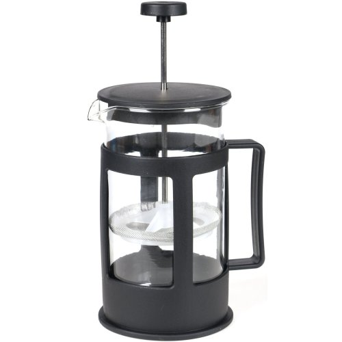 Black French Press Cafetiere Filter Coffee Tea Maker Teabag Plunger Mixer Glass Pitcher 600ml Travel Home Office