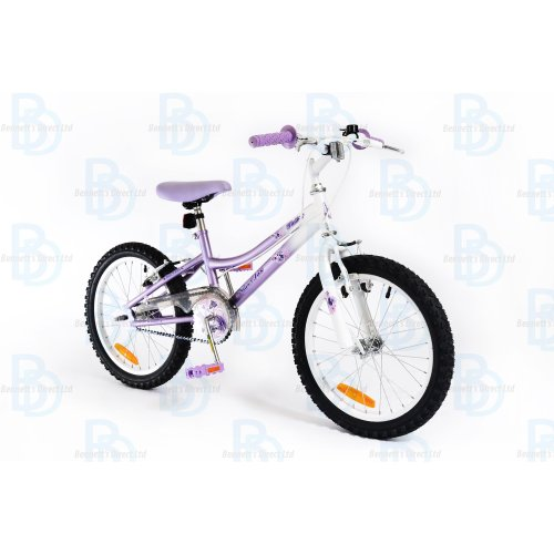 """Silverfox Flutter 18"""" Girls Bike - Lavender and White"""
