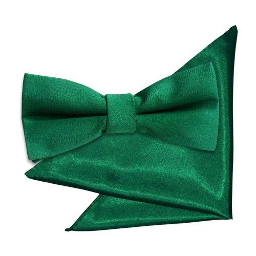 Emerald Green Plain Satin Bow Tie & Pocket Square Set for Boys