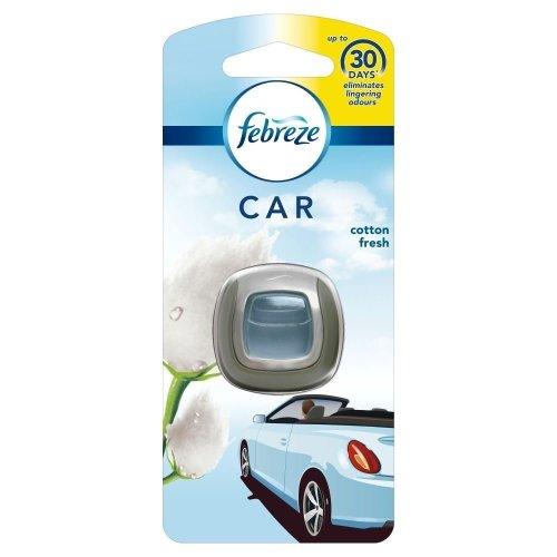 Febreze Cotton Fresh Scented Car Air Freshener Vent Clip-On 30 Starter Kit, 2ml