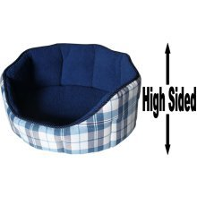 """Dog Bed Thick Blue Chequered Material Fleece 36"""""""
