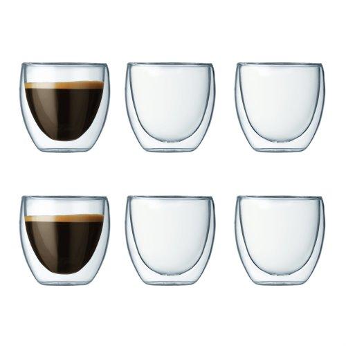 Bodum 4557-10-12 PAVINA Double Walled Thermo Glasses 0.08 L, 2.5 oz, Transparent,Set of 6