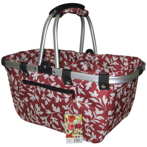"""JanetBasket Large Aluminum Frame Basket-18""""X10""""X9.5"""" Red Floral"""