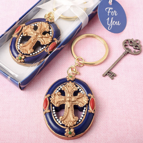 Gold Cross themed Keychain from Solefavors
