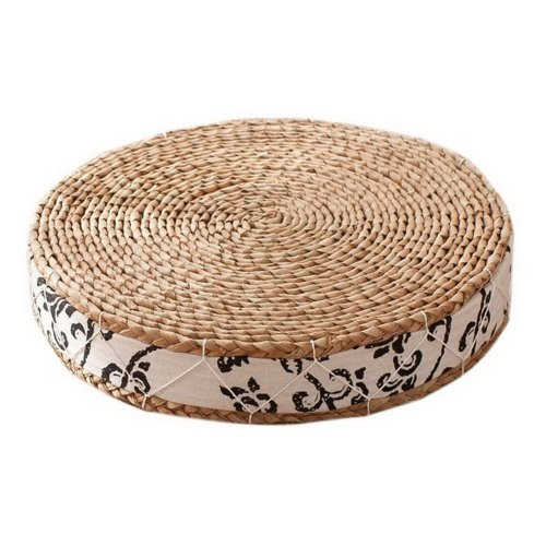 Japanese Style Handcrafted Knitted Straw Seat Cushion 50cm,Black Carving