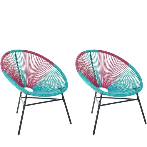 Set of 2 Accent Chairs Blue and Pink ACAPULCO