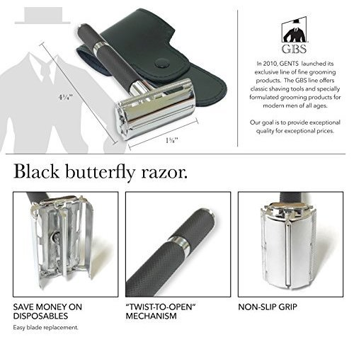 Double Edge Safety Razor Long Black Handle Travel Case and 10 DE blades Included  Gift Box