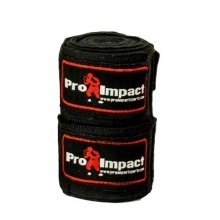 PRO IMPACT Boxing/MMA Handwraps 180 Mexican Style Elastic 1 Pair BLACK
