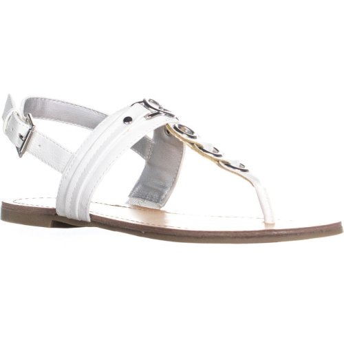 G by Guess Lesha Buckle Thong Sandals, White, 4.5 UK