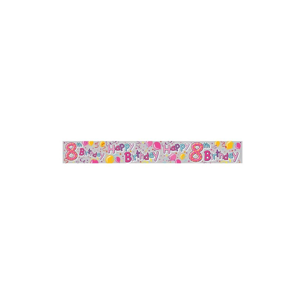 SE AGE 8// 8TH BIRTHDAY GIRL PINK FOIL BANNERS