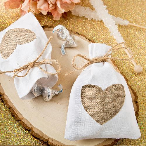 12pk Rustic White Cotton Favour Bags With Burlap Heart Appliqué