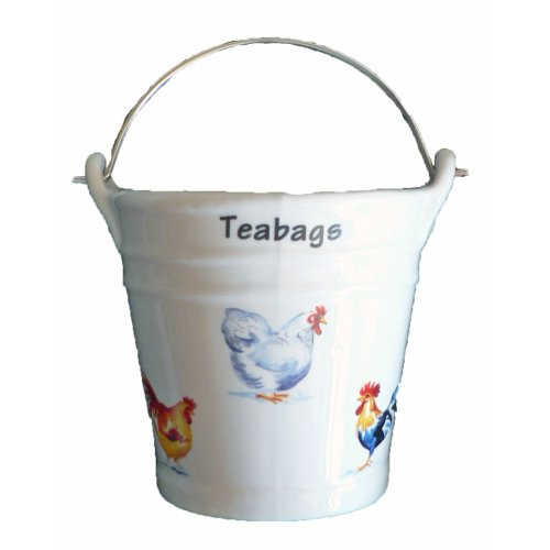 Chicken Design Bucket Teabag Tidy, Porcelain Bucket Teabag Tidy