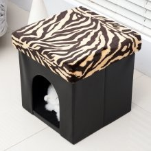 Pawhut Pvc Folding Pet Storage Ottoman Cat House Footstool Box Seat