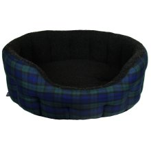 Premium Oval Drop Front Fleece Lined Softee Bed Black Watch Tartan/black Lining Size 5 76x64x24cm