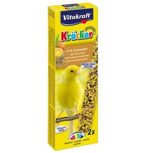 Vitakraft Kracker Canary Treat Sticks with Egg and Grass Seeds 2pk Case of 7