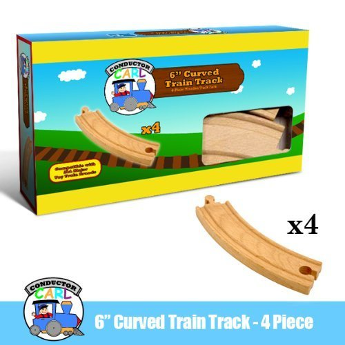 Four (4) Pcs of 6 Inch Curved Wooden Train Tracks compatible with THomas the Tank Engine. Made by Conductor Carl
