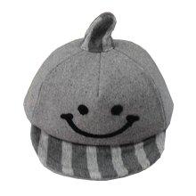 Lovely Baby Woolen Cap Winter Baseball Cap for Kids Smile Gray
