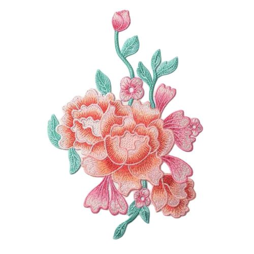Embroidery Applique DIY Sew on Patches Peony Applique Patches Cloth Appliques