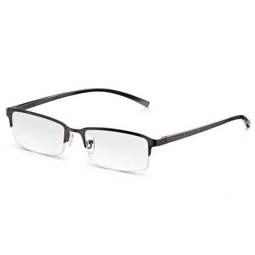 2b5be198f77d Read Optics Mens Clear Lens Reading Glasses  Classic Metal Half Frame with  Spring Hinges. Grey Oxidised Chrome. +1.0  +1.25  +1.5  +2  +2.5  +3 ... on  OnBuy