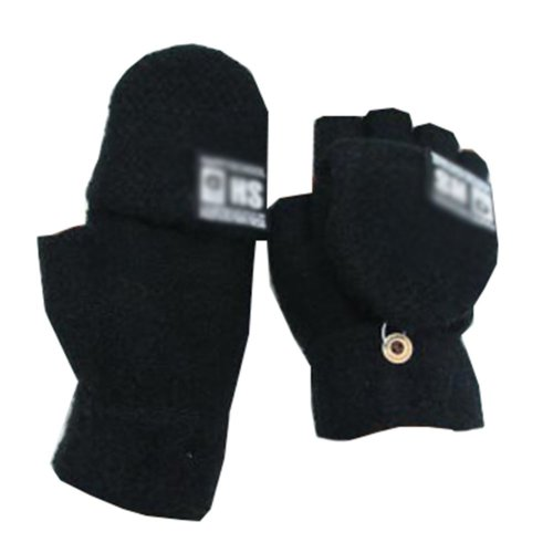 Beautiful Flip Wool Black Finger Gloves Keep Warm While Writing