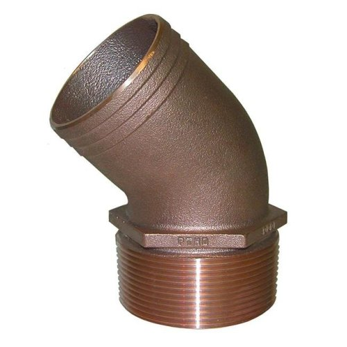 Groco PTHD-1250 1.25 in. NPT Bronze 45 deg Pipe to 1.25 in. Hose