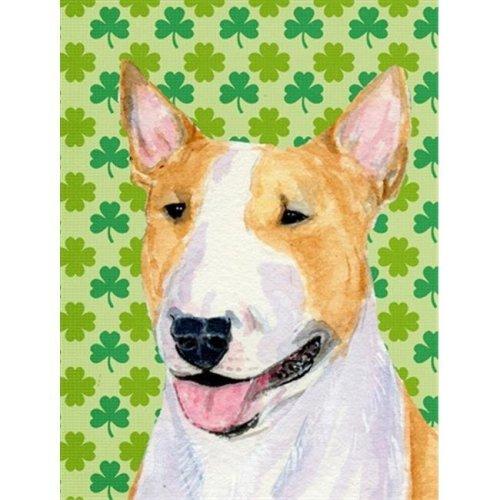 Carolines Treasures SS4427GF Bull Terrier St. Patricks Day Shamrock Portrait Flag - Garden Size
