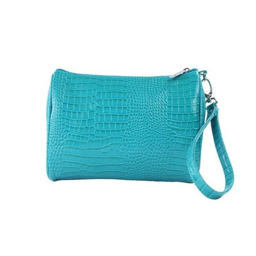 Picnic Gift 7722-BT Shirley Temple-Touch Up Insulated Cosmetics Bags with Removable Wristlet, Blue Turquoise - Large