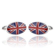 Pair of Oval Union Jack Flag Cufflinks Gift Bag