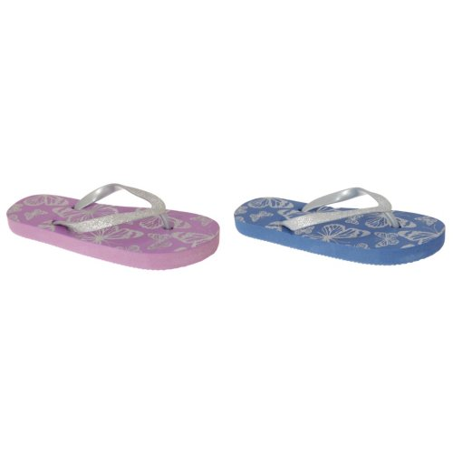 Sand Rocks Childrens Girls Glitter Butterfly Flip Flops