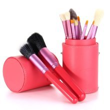 12Pcs Professional Makeup Brushes Set Cosmetic Red Cylinder Leather Case