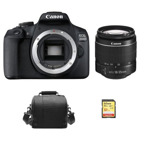 CANON EOS 2000D Black KIT EF-S 18-55mm F3.5-5.6 III + 32GB SD card+Bag